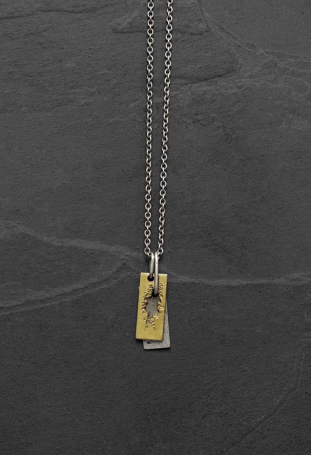Eroded gold plate necklace
