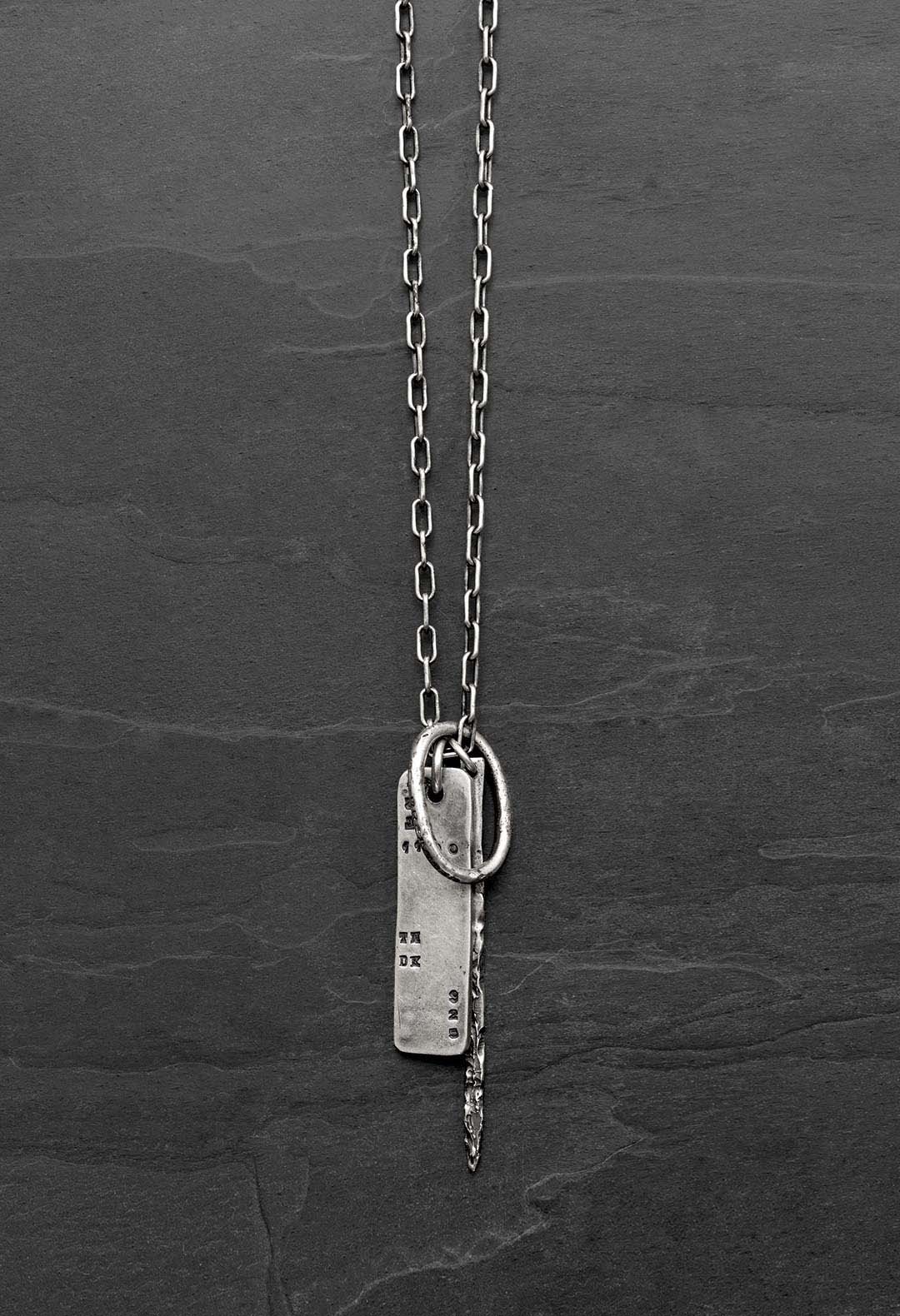 Number plate multi pendent necklace