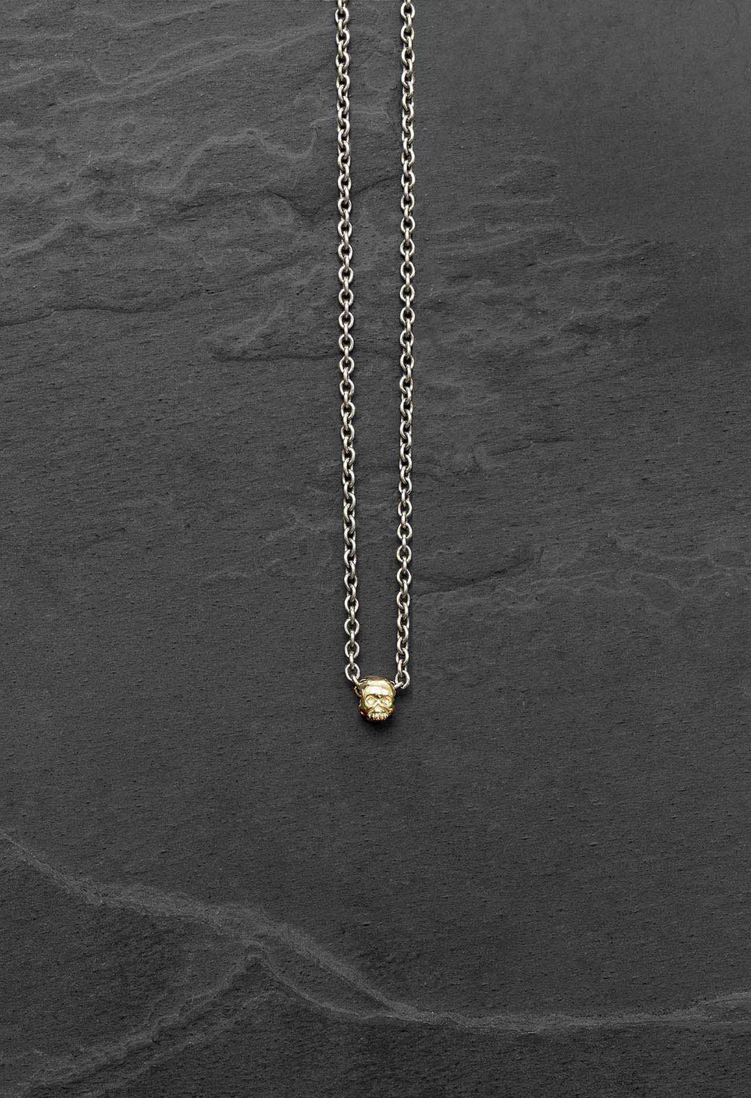 Gold skull bead necklace